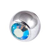 Titanium Threaded Jewelled Balls 1.6x4mm Mirror Polish metal, Aqua AB Gem