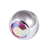 Titanium Threaded Jewelled Balls 1.6x4mm Mirror Polish metal, Rose AB Gem