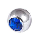 Titanium Threaded Jewelled Balls 1.6x4mm Mirror Polish metal, Capri Blue Gem