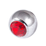 Titanium Threaded Jewelled Balls 1.6x4mm Mirror Polish metal, Red Gem