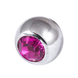 Titanium Threaded Jewelled Balls 1.6x4mm Mirror Polish metal, Fuchsia Gem