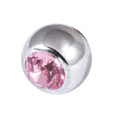 Titanium Threaded Jewelled Balls 1.6x4mm Mirror Polish metal, Light Pink Gem