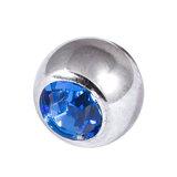 Titanium Threaded Jewelled Balls 1.6x4mm Mirror Polish metal, Sapphire Blue Gem