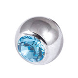 Titanium Threaded Jewelled Balls 1.6x4mm Mirror Polish metal, Light Blue Gem
