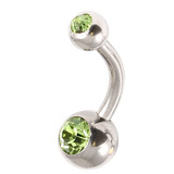 Steel Baby Double Jewelled Belly Bars - 8mm Light Green