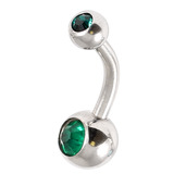 Steel Baby Double Jewelled Belly Bars - 10mm Dark Green