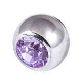 Steel Threaded Jewelled Balls 1.6x6mm lilac