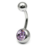 Steel Jewelled Belly Bar - 12mm Lilac