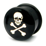 Acrylic Logo Plugs 16-20mm 18 / Skull and cross bones