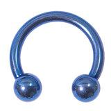 Titanium Circular Barbells (CBB) (Horseshoes) 1.2mm 1.6mm 1.6mm, 14mm, (5mm), Blue