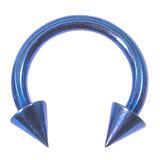 Titanium Coned Circular Barbells (CBB) (Horseshoes) 1.6mm x 14mm, Blue