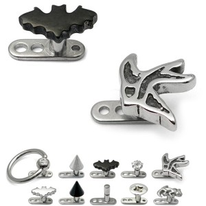 Titanium Dermal Anchor with various style Tops