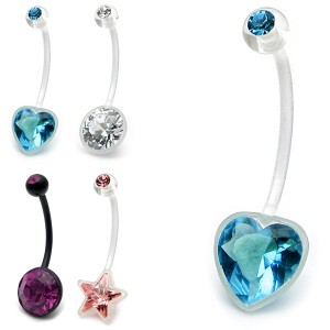 Jewelled Flexible Pregnancy Belly Bars (PTFE)