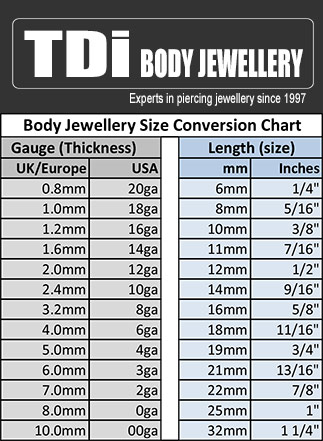 Body Jewellery size co