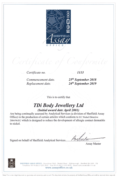 2018 2019 TDi Body Jewellery Ltd Certificate of Conformity Sheffield Assay Office