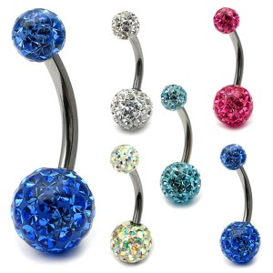 Belly Bar - Smooth Glitzy Ball (8mm and 5mm balls)