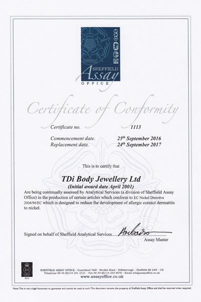 TDi Body Jewellery Ltd Nickel Directive Certificate of Conformity