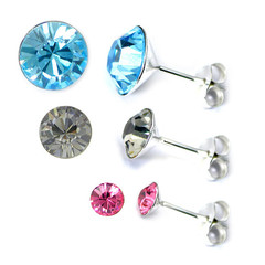 Crystal Studs Sterling 925 Silver