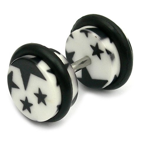 Acrylic Fake Plugs - Big Black Stars on White