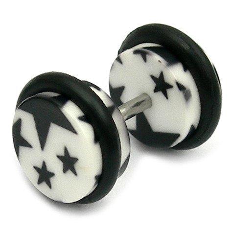 Acrylic Fake Plugs - Big Black Stars on White