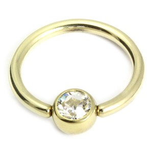 Zircon Steel Jewelled Ball Closure Ring (BCR) (Gold colour PVD)