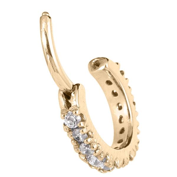 Zircon Steel Claw Set Jewelled Edge Clicker Ring