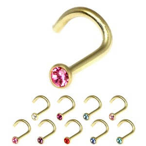 Zircon Steel Jewelled Nose Stud (Gold colour PVD)