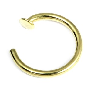 Zircon Steel Open Nose Ring (Gold colour PVD)