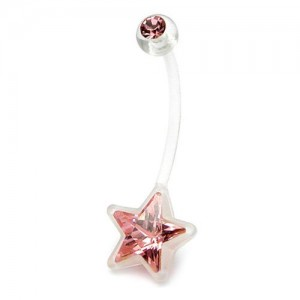 Body-Jewellery-Pregnancy-belly-bars-Light-Pink-star-crystal-gem-PTFE-navel-bars