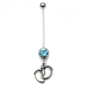 Pregnancy-belly-bars-Baby-Feet-Light-Blue-PTFE-navel-bars