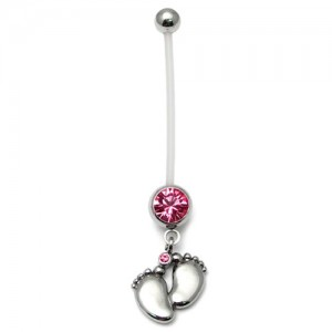 Pregnancy-belly-bars-Baby-Feet-Pink-PTFE-navel-bars
