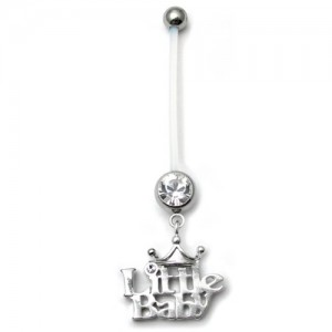 Pregnancy belly bars Little Baby Clear  PTFE navel bars