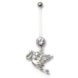 Pregnancy belly bars Stork Clear PTFE navel bars
