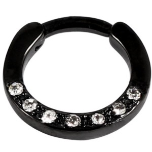 Black Steel Septum Clicker Ring Jewelled 7 Gem