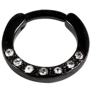 Black Steel Septum Clicker Ring Jewelled 7 Gem