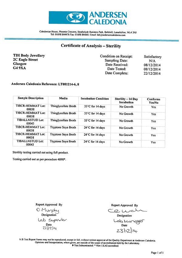 TDi Body Jewellery's Certificate of Sterility Analysis