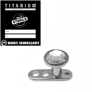 Sterile Titanium Dermal Anchor with Jewelled Disk Top