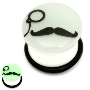 Acrylic Monocle Moustache Plug Glow in the Dark