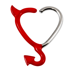 Steel Horny Devil Continuous Heart Rings
