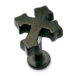 PVD Black Labret with Gothic Cross Casting