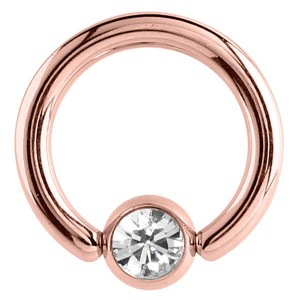 Rose Gold Steel Jewelled Ball Closure Ring (BCR) (Rose Gold colour PVD) NEW