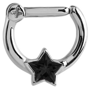 Steel Septum Clicker Jewelled Star black