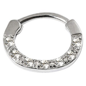 Steel Septum Clicker Ring Jewelled 7 Gem 1.2mm