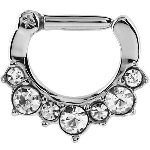 Steel Septum Clicker Ring Jewelled Claw Set