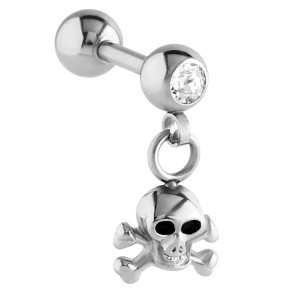 Steel Skull Dangle Charm Tragus Bar