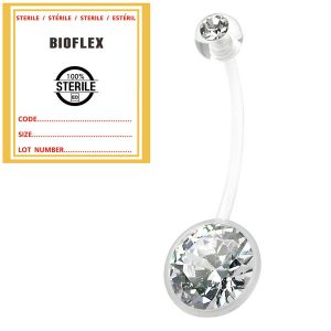 Sterile Bioflex Pregnancy Belly Bar Clear Gem