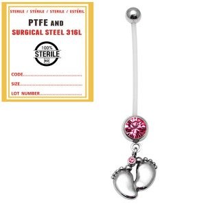 Sterile Pregnancy Belly Bars Baby Feet (PTFE) Pink Gem