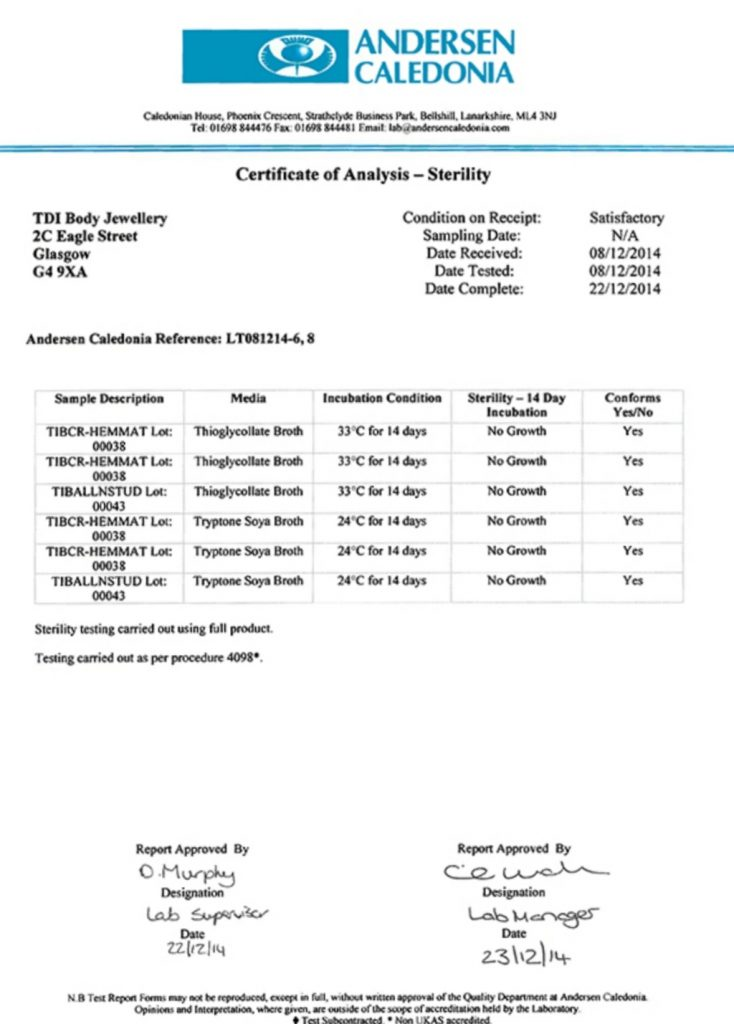 TDi Body Jewellery Ltd Certificate of Sterility Analysis