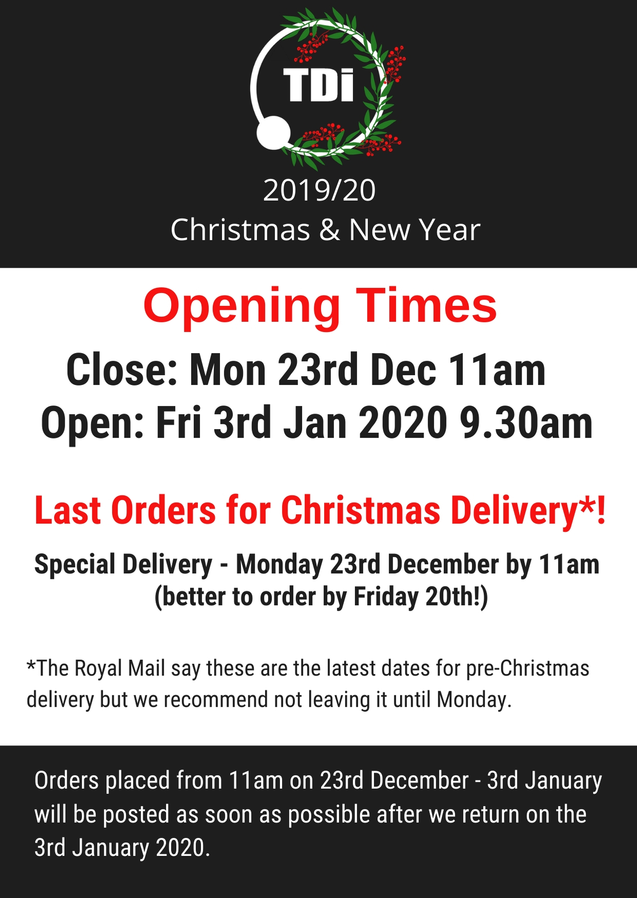 TDi Body Jewellery 2019 Christmas opening times