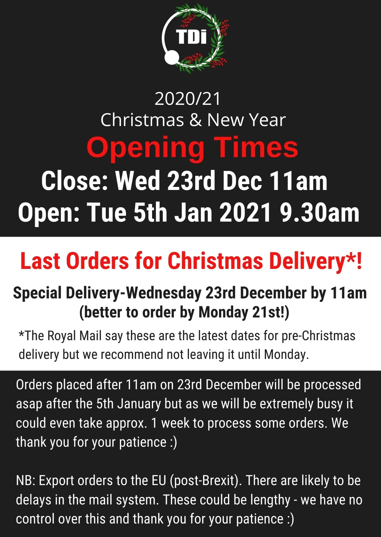 TDi Body Jewellery 2020 Christmas opening times